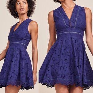 Bb Dakota Navy Blue Eyelet V-Neck Dress